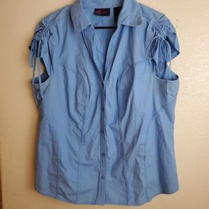Torrid Blue Chambray Button Sleeveless Top